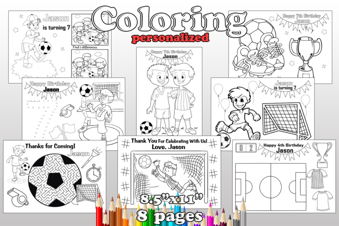Soccer Birthday Party favor, Soccer coloring pages, Soccer Birthday Party, pdf