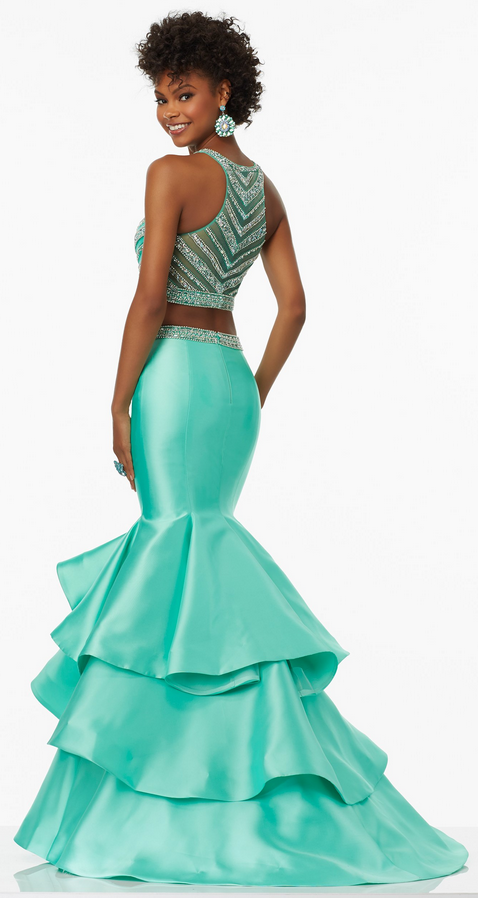 Charming Gorgeous Two-pieces floor-length sleeveless evening gown, long prom