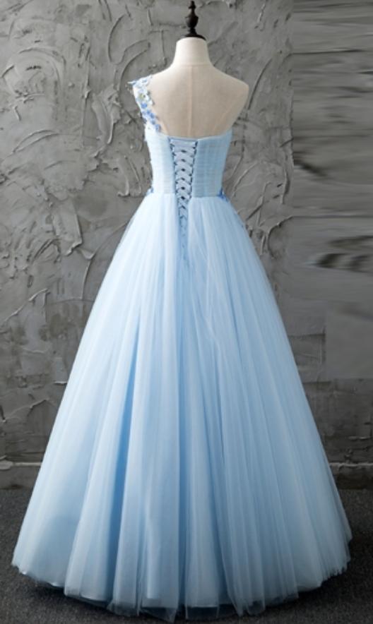 Blue One-Shoulder Prom Dresses,A-Line Beading Formal Dresses,Pleats Floor-Length