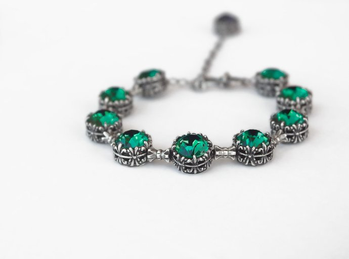 Emerald Bracelet Swarovski Tennis Bracelet Oxidized Silver Emerald  rhinestone 91800ed97f