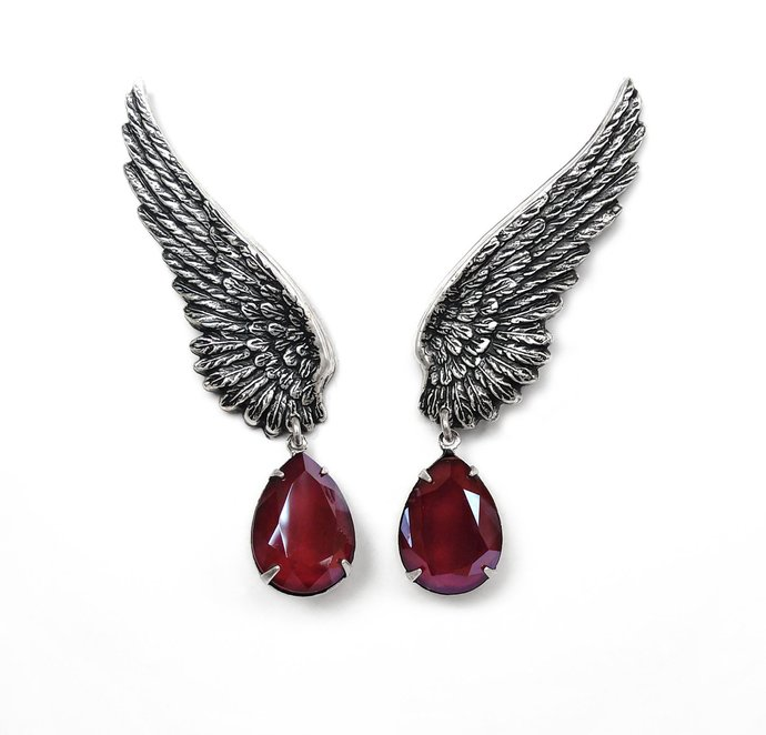 Red ear crawlers gothic earrings Clip On Earrings Silver Angel Wings ear