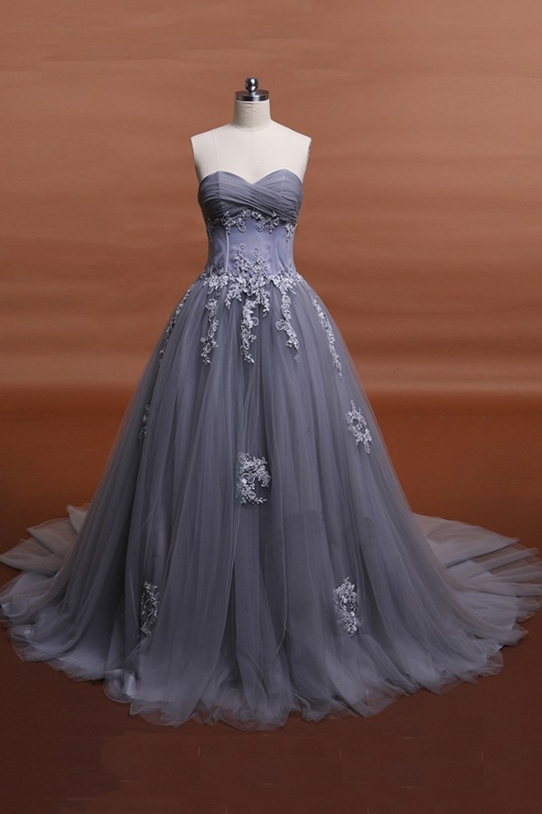 Appliques lace grey wedding dresses by prom dresses on zibbet appliques lace grey wedding dresses junglespirit Images