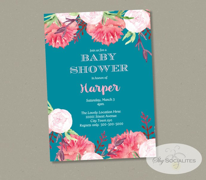 Peonies Baby Shower Invitation | Pink Flowers, Turquoise, Tea, Bridal or Baby