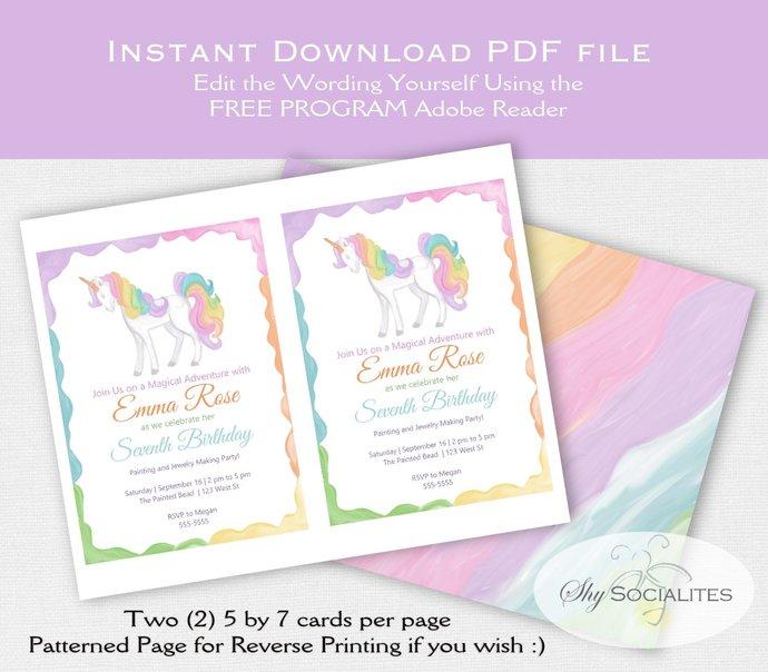 Unicorn Party Invitation   Rainbow, unicorn, painting party, magical   Editable