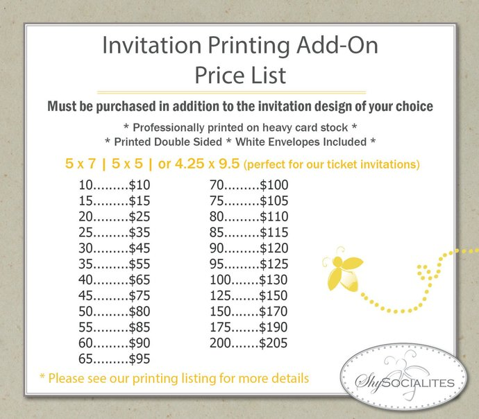 Printing Service Add-On for Invitations with Envelopes | 5x7, 4x6, 5x5, 4x9 |
