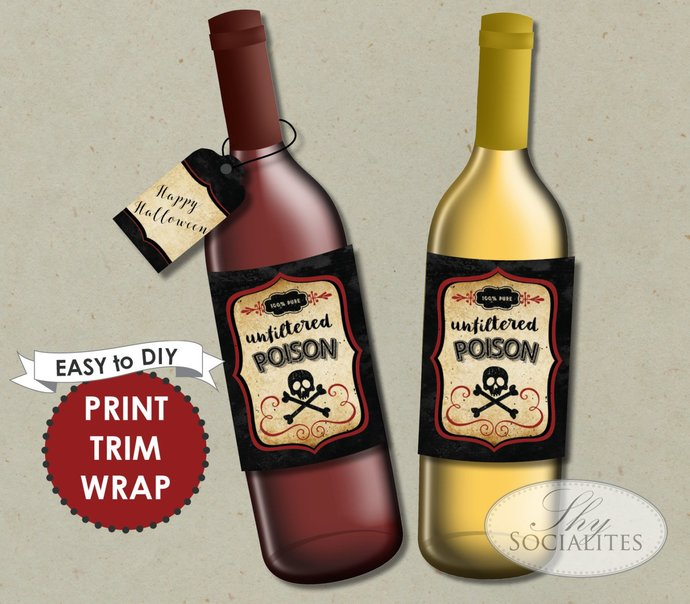 Halloween Printable Wine Label | SALE | Unfiltered Poison | Hostess Gift,