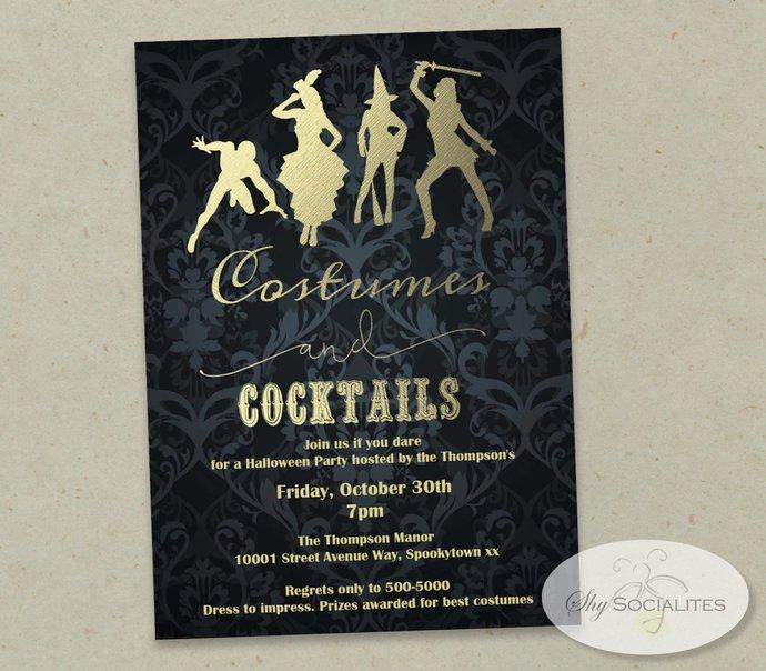 Damask Costumes & Cocktails Invitation | Halloween Party, Damask, Black, Gold |