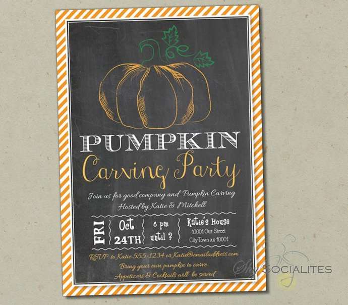 Chalkboard Pumpkin Carving Invitation | Halloween, Carving Party, Pumpkin Patch,