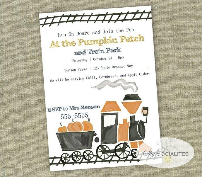 Halloween Train Invitation | Pumpkin Train | Primative Train | 1970s Inspired |