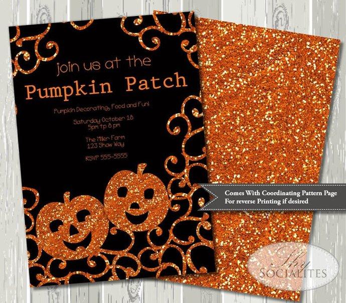 Pumpkin Invitation | Glitter Sparkle | Pumpkin Carving Party  Halloween Party |