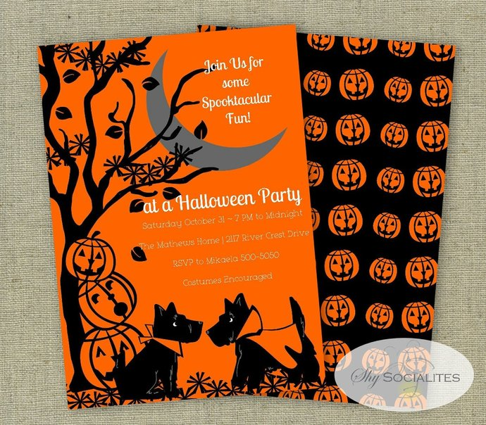 Halloween Invitation | Scottie Dog Halloween Invitation | Vintage Look |