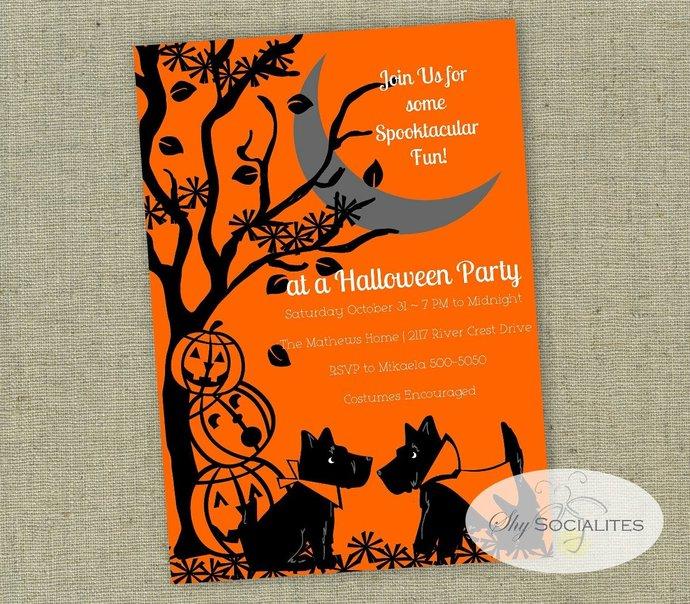 Halloween Invitation   Scottie Dog Halloween Invitation   Vintage Look  