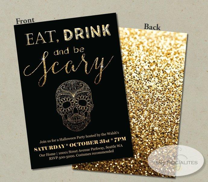 Day of the Dead Invitation | Halloween Invitation | Skull | Black & Gold Glitter