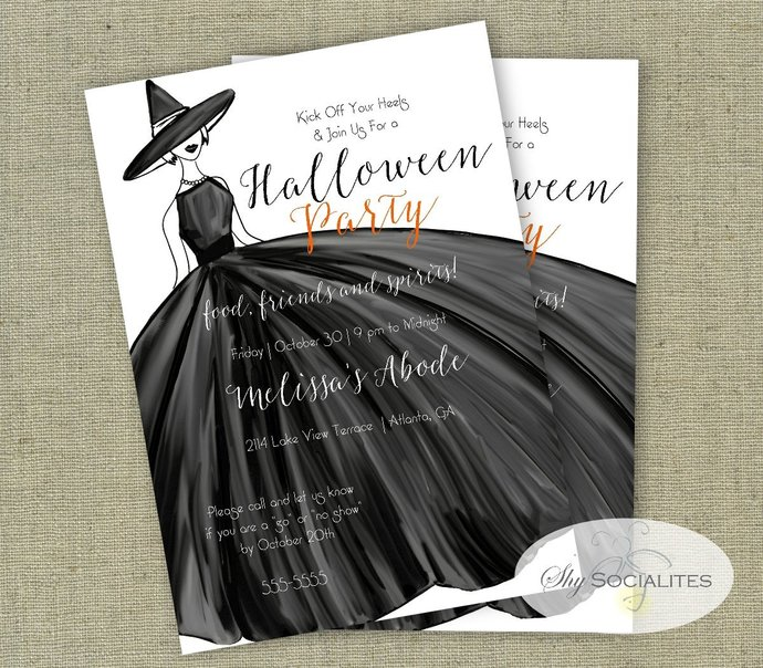 Fashionable Halloween Party Invitation   Witch Invitation   Instant Download  