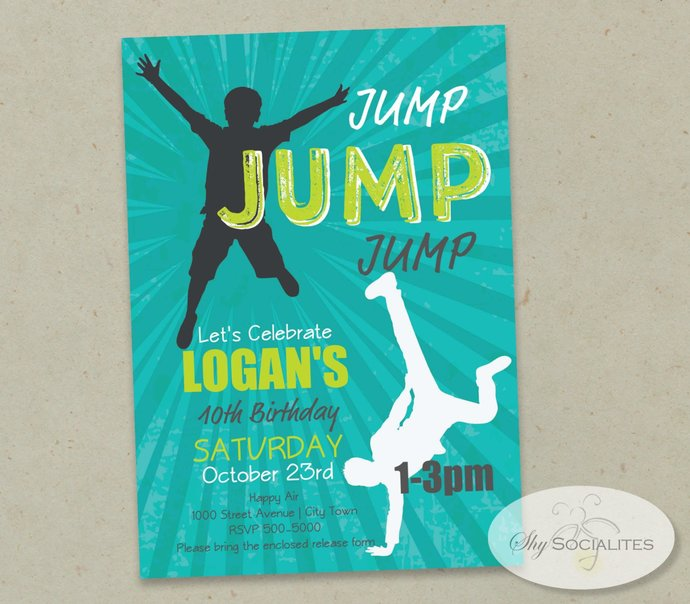JUMP PARTY INVITATION | Bounce Party, Indoor Trampolines, Bounce House, Bounce