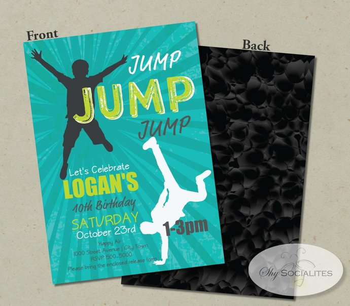 JUMP PARTY INVITATION   Bounce Party, Indoor Trampolines, Bounce House, Bounce