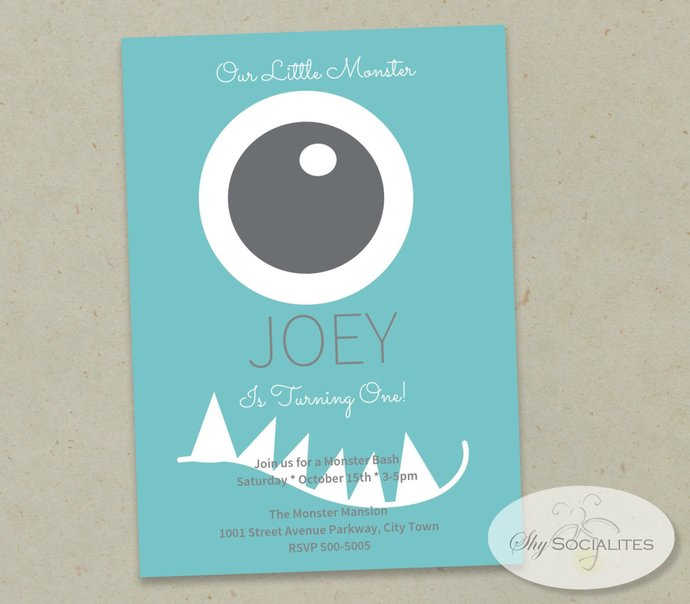 Blue One Eyed Monster Invitation   First Birthday, Toddler Party, Halloween