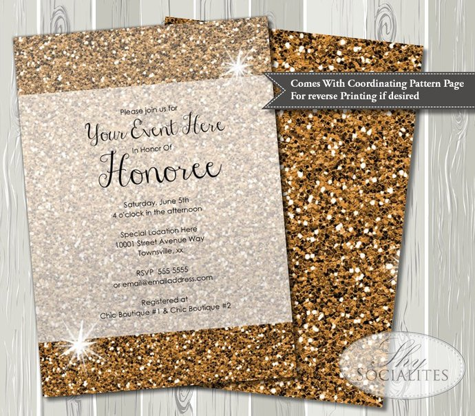 Sunset Gold Glitter Invitation | Golden, Bronze, Glittery, Sparkle, Jewel,
