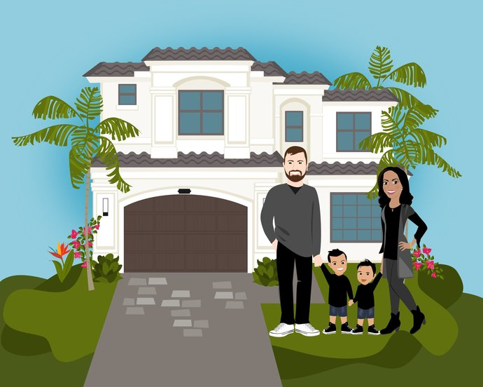 Custom Drawn Home and Family Moving Announcement | Family Portrait | Custom