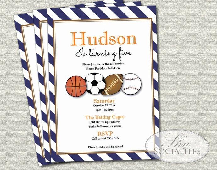 Sports Invitation   Baseball, Football, Soccer, Basketball   Sports Birthday,