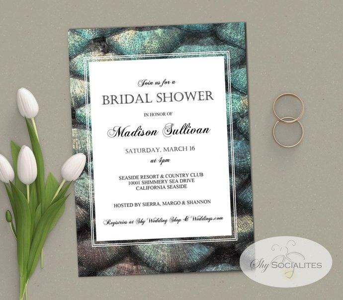 Seashells Bridal Shower Invitation | Mermaid, Abalone, Ocean, Under the Sea,