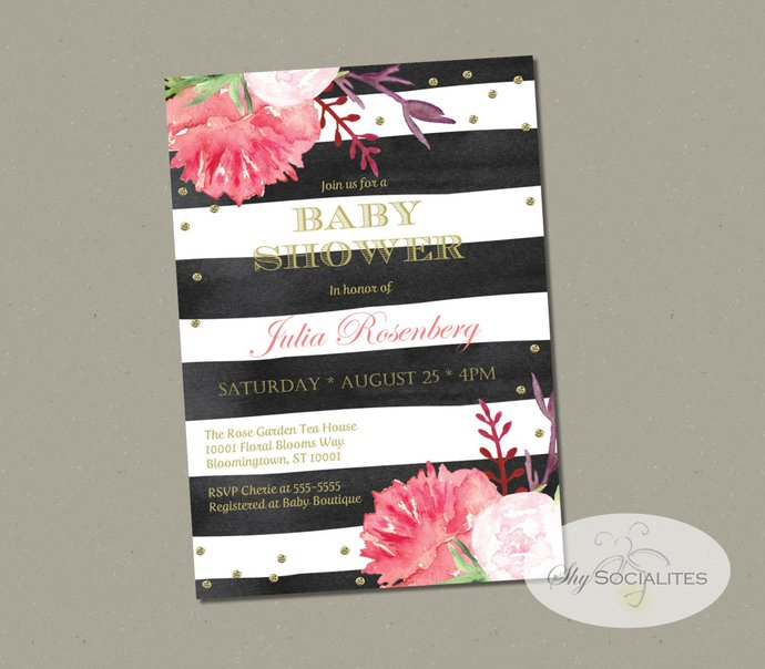 Peonies and French Stripes Floral Invitation | Black and White Stripes, Flowers,