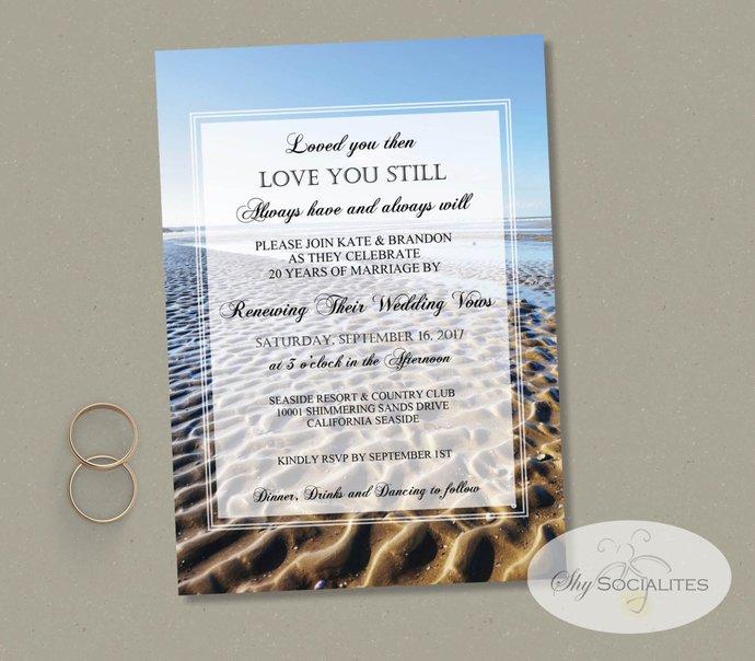 Beach Vow Renewal Invitation   Beach Wedding, Loved You Then, Love You Still,