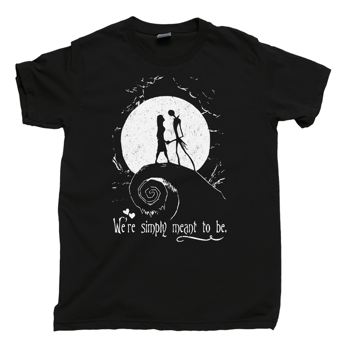 Nightmare Before Christmas Men's T Shirt, Jack And Sally We're Simply Meant To