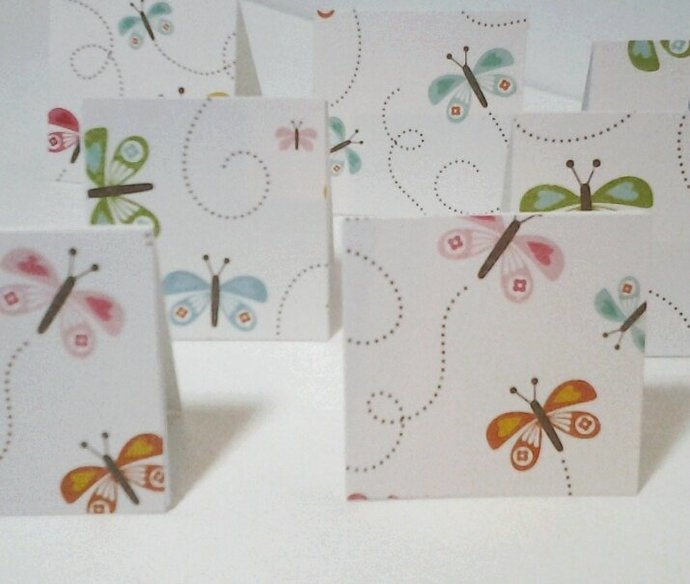 9 mini butterfly cards or gift tags handmade by smiles4paper on