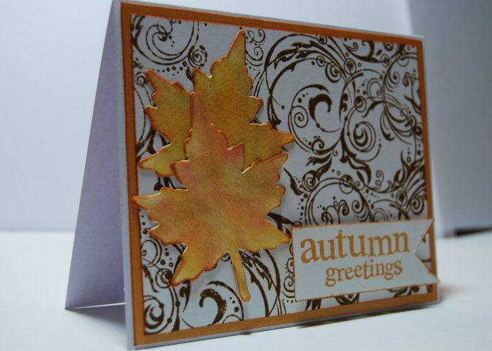 Autumn greetings handmade greeting card by smiles4paper on autumn greetings handmade greeting card fall leaves on a swirling m4hsunfo