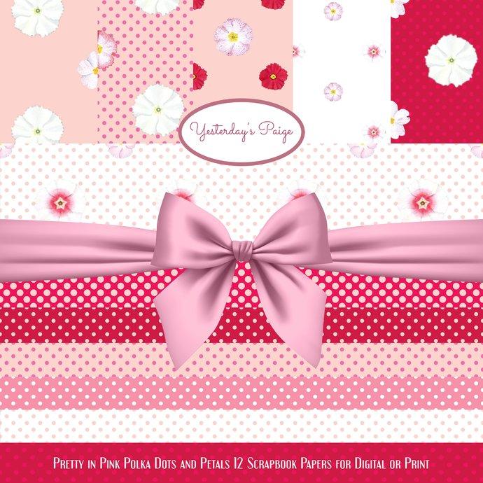 Digital Scrapbook Paper Flowers Polka By Yesterdays Paige On