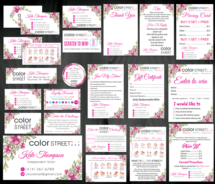 Color Street Marketing Kit, Printable Digital Cards, Personalized Color Street