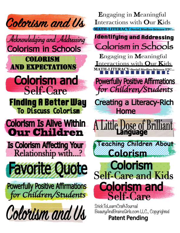Colorism and Kids  Teacher Journal Craft Journal-  StickToLearn Craft Journal