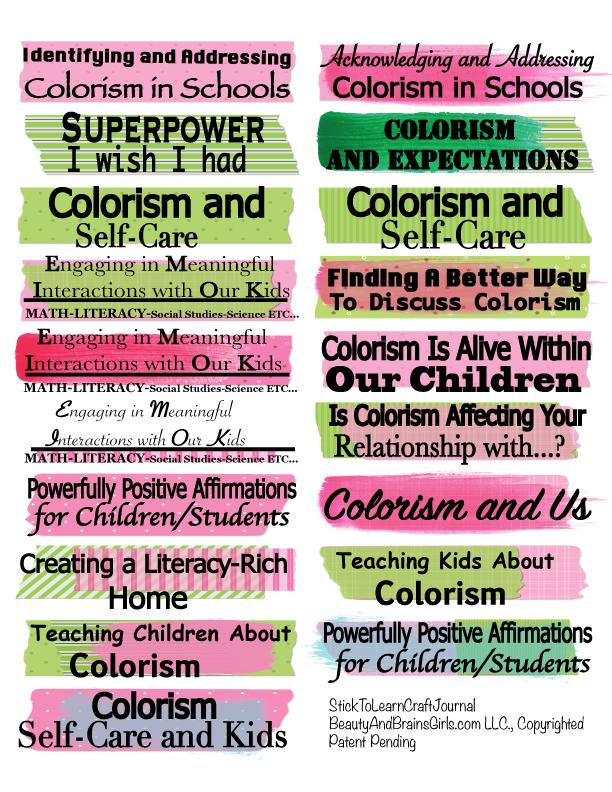 Colorism and Kids  Teacher Journal Craft Journal-  StickToLearn Craft Journal