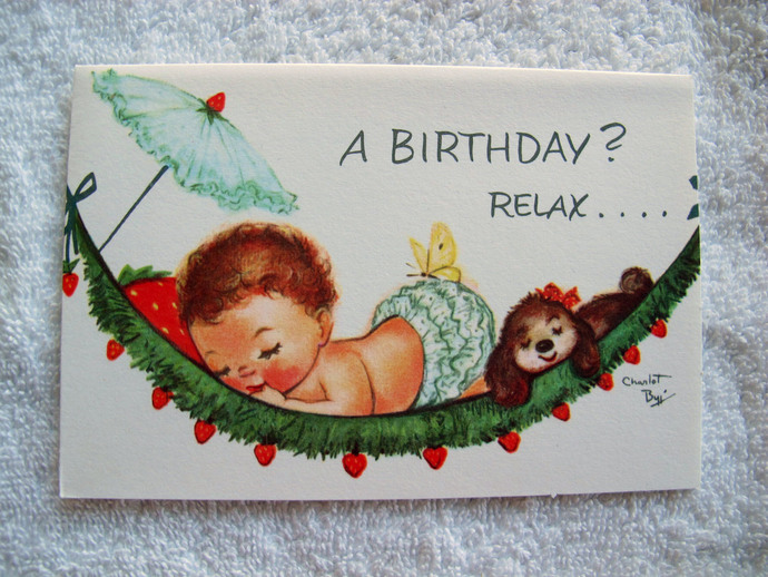 Charlot Byj baby in hammock birthday card / Relax baby birthday card / 1940's