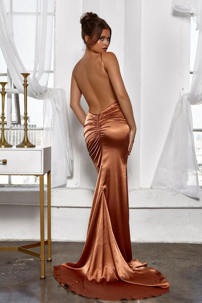 d27bbcfb12fb Pleated V Neckline Silk Like Satin Mermaid Long Prom Dress Sexy Backless  Evening