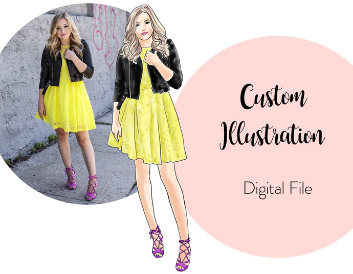 Watercolor Custom Illustration, fashion illustration, printable art, digital