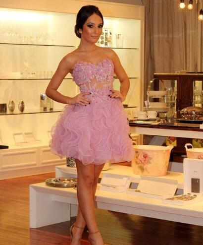 Prom Dresses Sweetheart Applique Ruffles Organza Mini Party Gowns A Line Prom