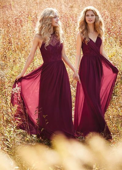 911cb047bb63 Dark Red V Neck Lace Long Chiffon Bridesmaid by Hiprom on Zibbet