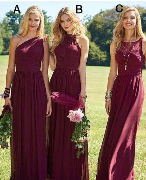 05f1ac81512b Sexy Dark Red Chiffon Prom Dresses One Shoulder Evening Bridesmaid Dresses  Floor