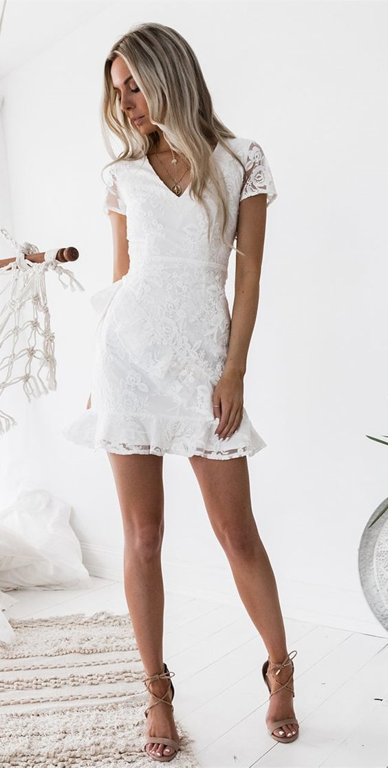 2be0ca65573 Sheath V-neck Short Sleeves Short White Lace Homecoming Cocktail Dress