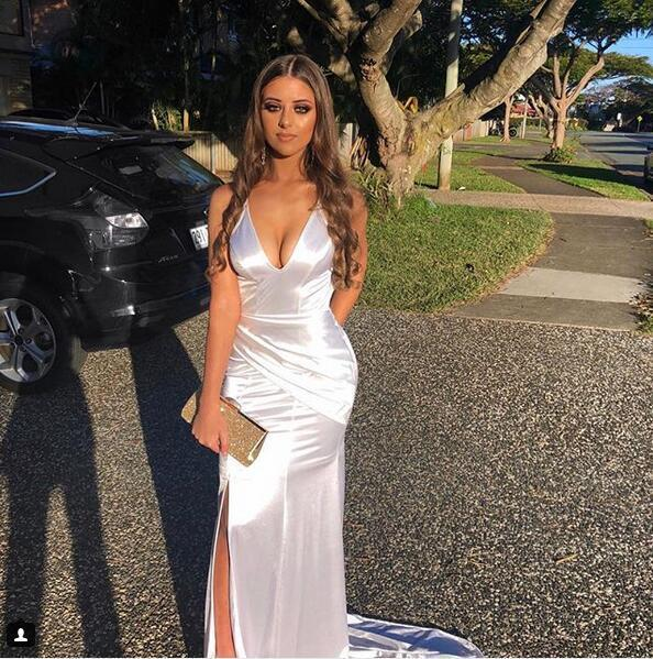 Sexy V Neck Backless Mermaid White Prom Dresses, Woman Dress Formal