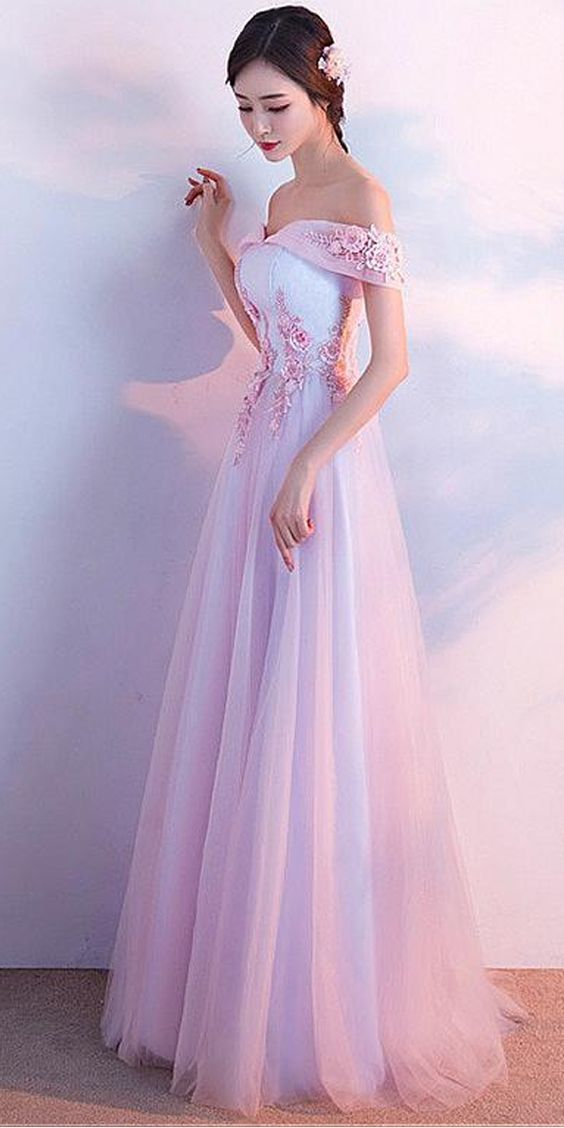 Pretty Tulle & Lace Off-the-shoulder Neckline A-line Bridesmaid Dress With 3D