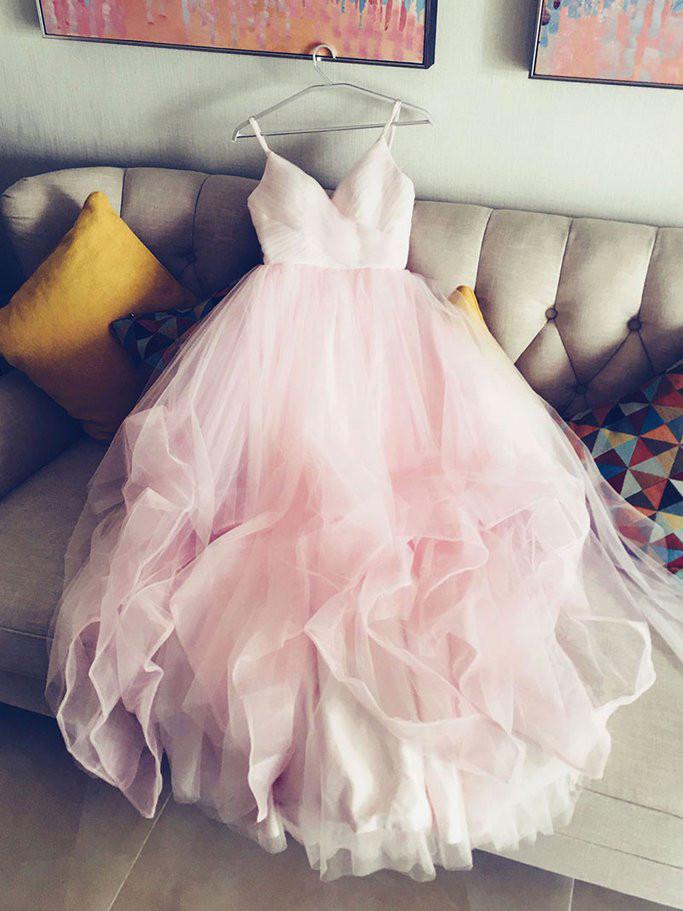 Pink Wedding Dresses,Floor Length Tulle Wedding Dresses,Straps V neck Pink