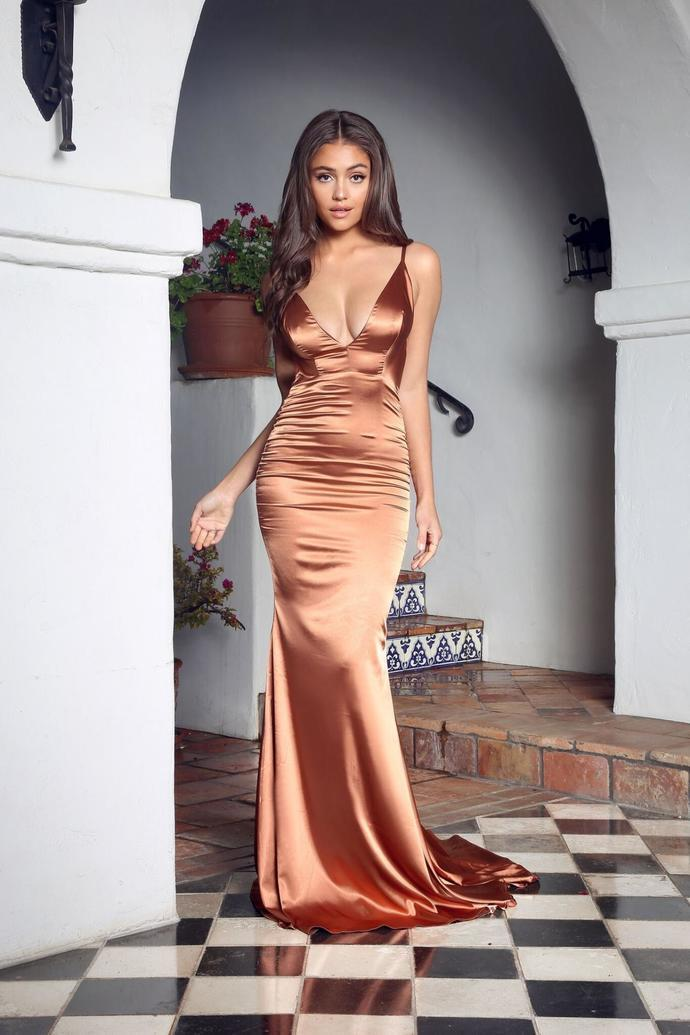 Pleated V Neckline Silk Like Satin Mermaid Long Prom Dress Sexy Backless Evening