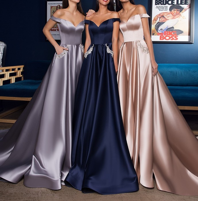 Sexy Off the Shoulder Navy Blue Satin Long Prom Dress with Pockets Champagne