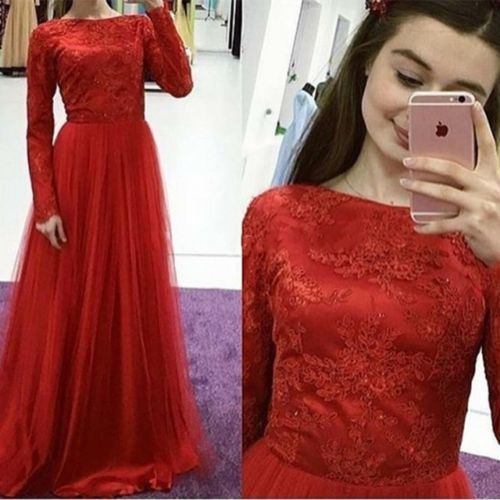 Red Long Sleeve Lace Women Evening Party dress A Line Tulle Custom Formal Gown