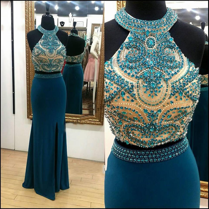 New Arrival Blue Beaded Halter Prom Dresses Sexy Split Long Prom Gowns Off