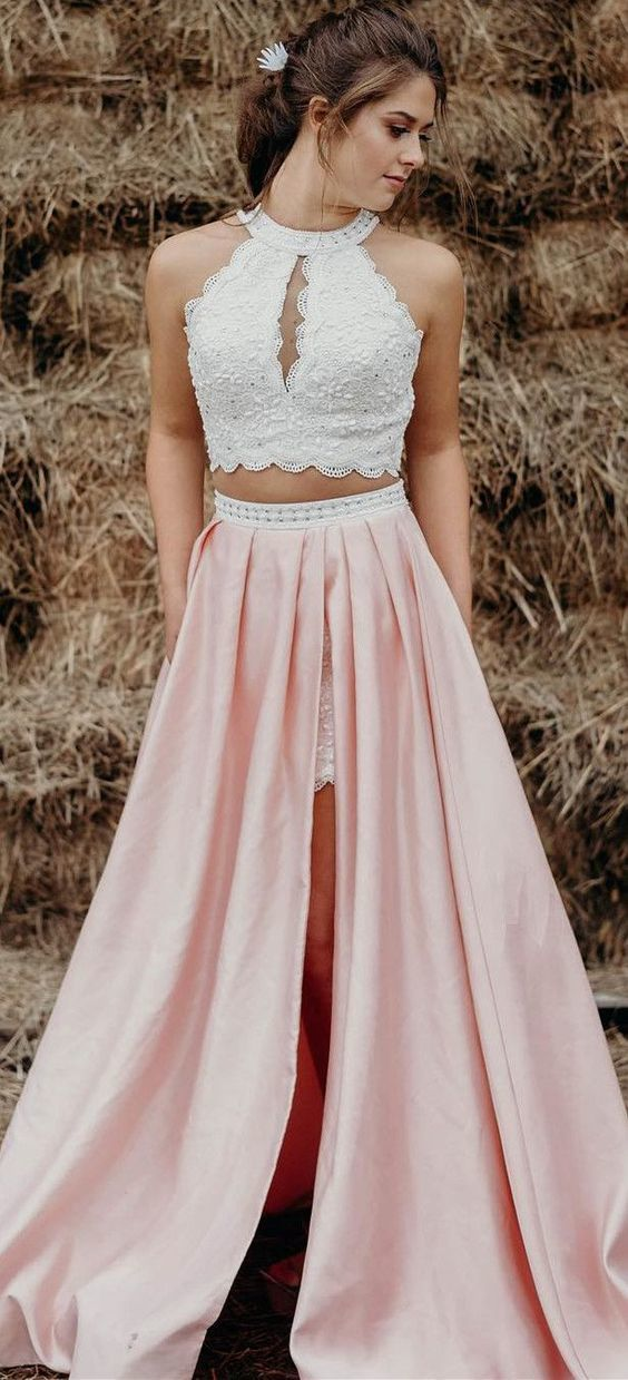 06d09b8a967ff two piece white and pink long prom dress, prom dress with side slit, prom