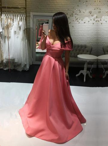 Coral Pink Satin Long V-neck Off The Shoulder Prom Dresses Plu Size Women Gowns